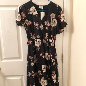 Blue and peachy pink floral dress.